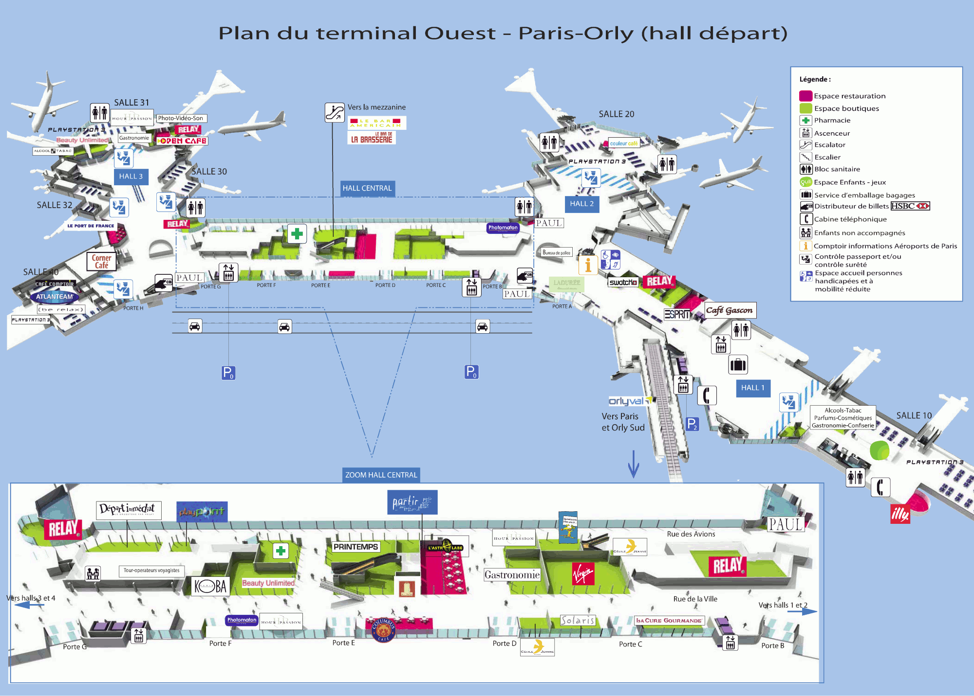 Asa paris beauvais airport terminal map for Porte w orly